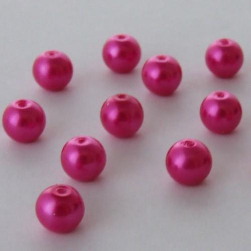 Glasperle Wachsperle Kugel glatt pink glänzend 8mm 30Stk.