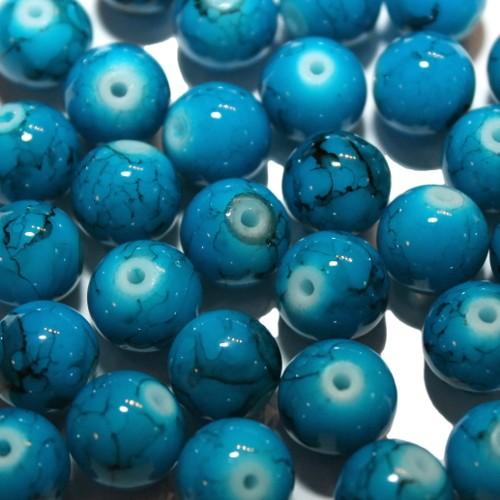 Glasperle Kugel glatt marmoriert blau 10mm 30Stk.