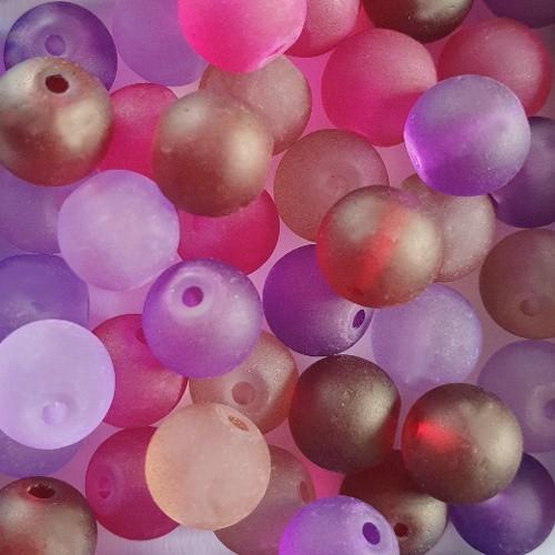 Glasperle Kugel matt gefrostet mix Violett Töne 8mm 40Stk. 5 Farben