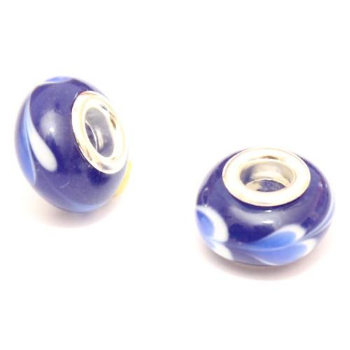 Charms Murano Glas Blau mit weißem Muster 14x10mm 2Stk.