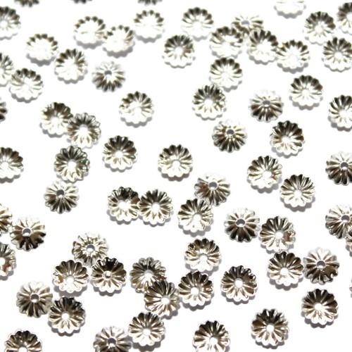 Metallperle Endkappe Perlenkappe zart versilbert 5,5x1,5mm 80Stk.