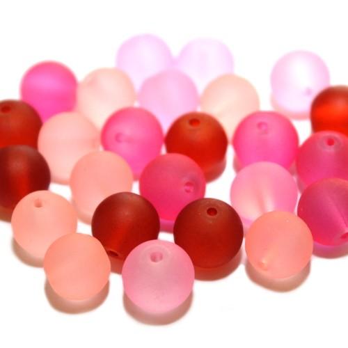 Glasperle Kugel matt gefrostet mix rot/rosa Töne 10mm 25Stk. 4 Farben