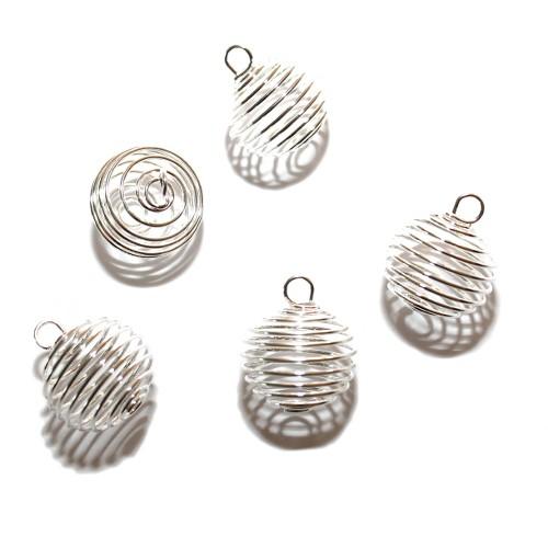 Metallperle Perlenkäfig mit Anhängeröse versilbert 22x20mm 5Stk.