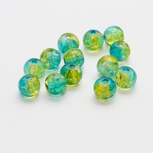 Glasperle Kugel glatt Crackle blau und grün 6mm 30Stk.