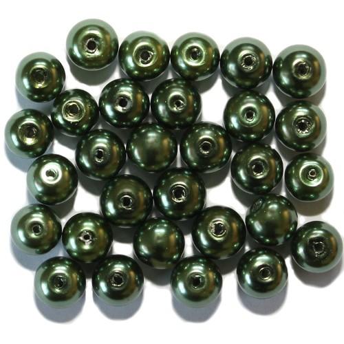 Glasperle Wachsperle Kugel glatt dunkel grün glänzend 8mm 30Stk.
