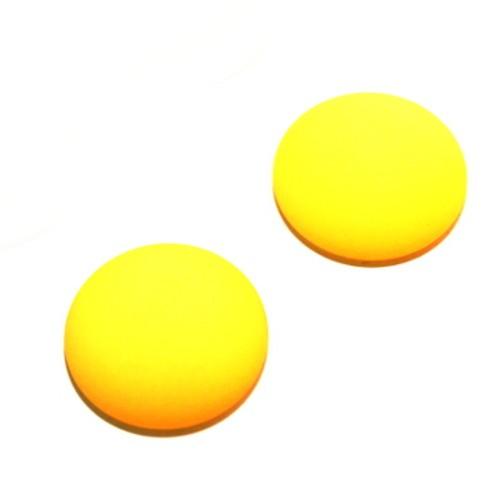 Cabochon Polaris rund flach matt gelb 25mm 2 Stück