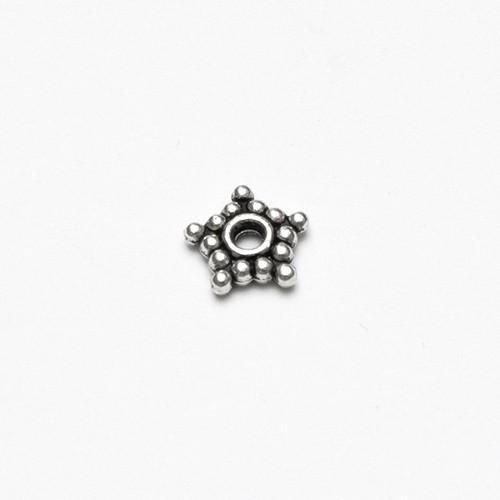 Metallperle Spacer Rondelle Stern Antiksilber 8x2mm 20Stk.