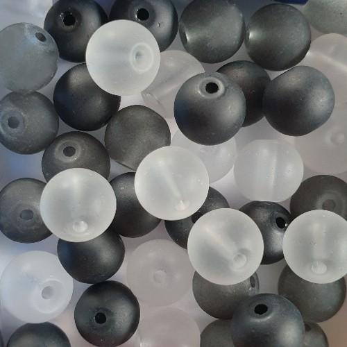 Glasperle Kugel matt gefrostet mix schwarz/grau/weiß Töne 8mm 40Stk. 3 Farben