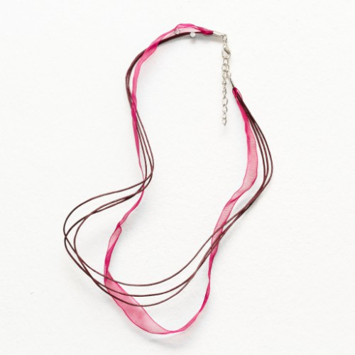 Organza / Wachs Halsband weinrot mit Karabinerverschluß und Verlängerungskette 43cm 2Stk.