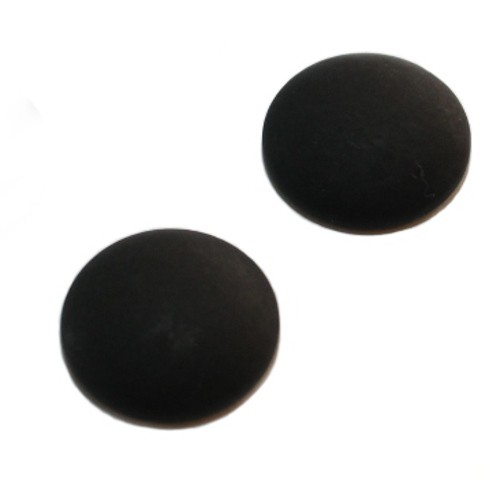 Cabochon Polaris rund flach matt schwarz 25mm 2 Stück