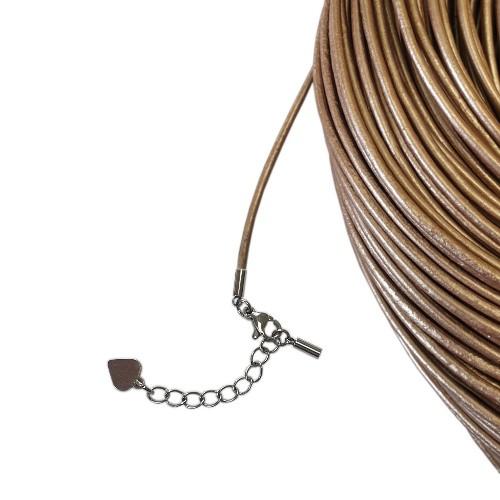 Hals/Arm Band Leder metallic beige 2mm 54cm kürzbar inkl. Ketterl Edelstahl 1Stk.