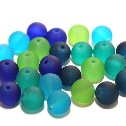 Glasperle Kugel matt gefrostet mix grün/blau Töne 10mm 25Stk. 5 Farben