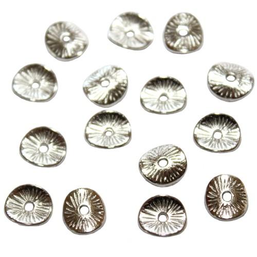Metallperle Spacer Scheibe gewellt flach Muster Antiksilber 9mm 30Stk.